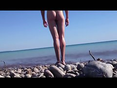 beach soft shaft wanking and helicopter