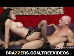 Charming dark haired puma Veronica Avluv bangs a store cashie