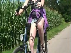 Upskirt riding on my bicycle