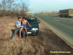 Fuck on streets slutty chicks gets humid cumshot on the highway